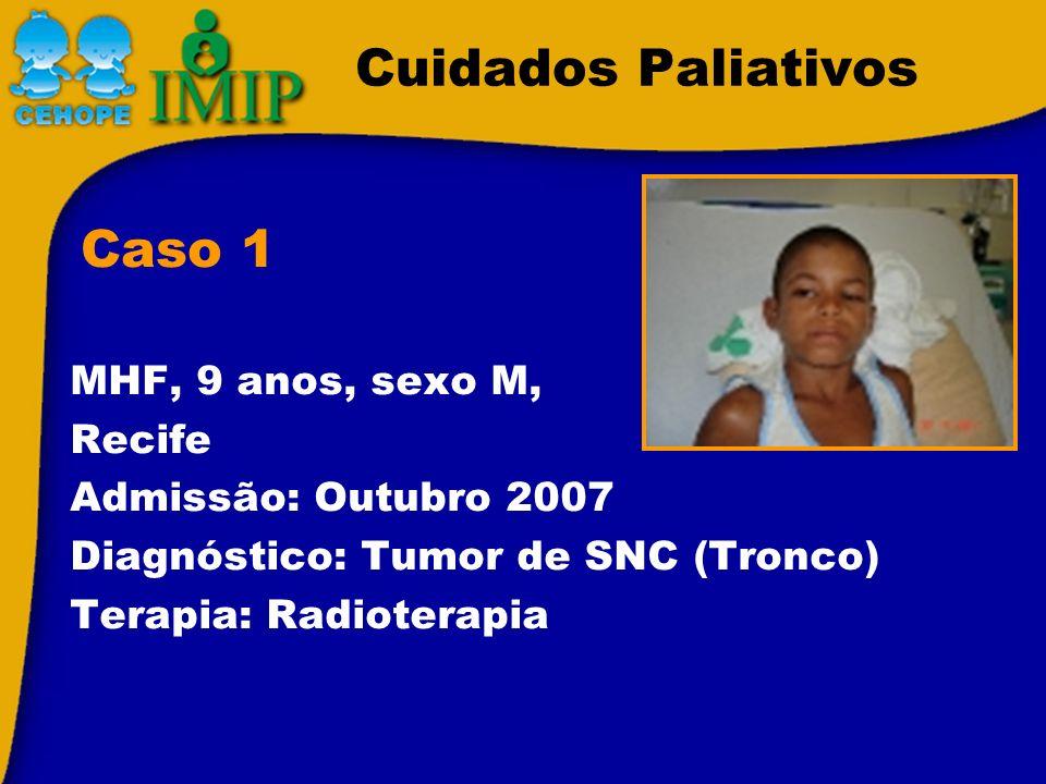 Cuidados Paliativos MHF, 9 anos, sexo M, Recife Admissão: Outubro 2007 Diagnóstico: Tumor de SNC (Tronco) Terapia: Radioterapia Caso 1