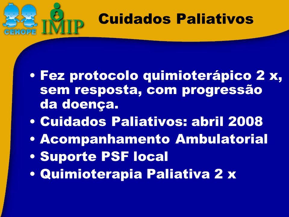 Cuidados Paliativos Fez protocolo quimioterápico 2 x, sem resposta, com progressão da doença. Cuidados Paliativos: abril 2008 Acompanhamento Ambulator