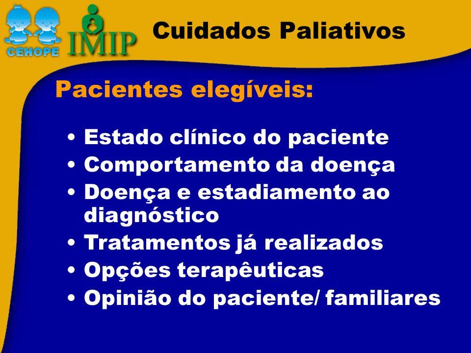 Cuidados Paliativos Pacientes elegíveis: Estado clínico do paciente Comportamento da doença Doença e estadiamento ao diagnóstico Tratamentos já realiz
