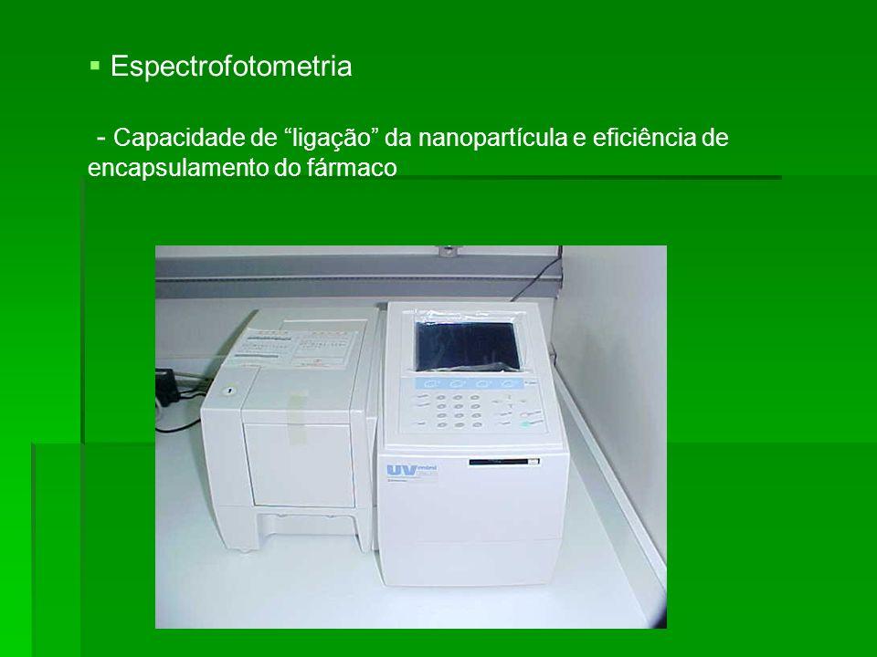 Espectrofotometria - Capacidade de ligação da nanopartícula e eficiência de encapsulamento do fármaco