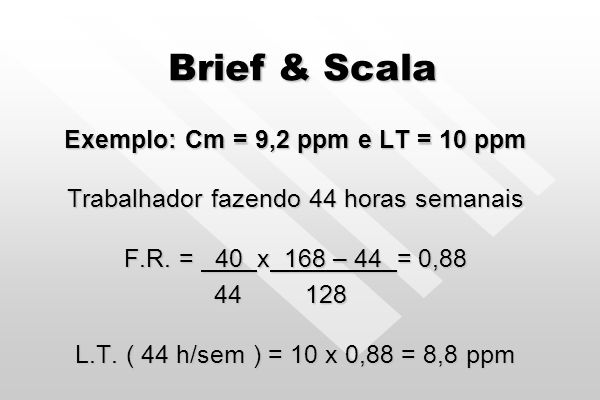 Brief & Scala F.R. = 40 x 168 – h F.R. = 40 x 168 – h h 128 h 128 L.T. (h) = L.T. ( 40 h/s ) x F.R. L.T. (h) = L.T. ( 40 h/s ) x F.R.
