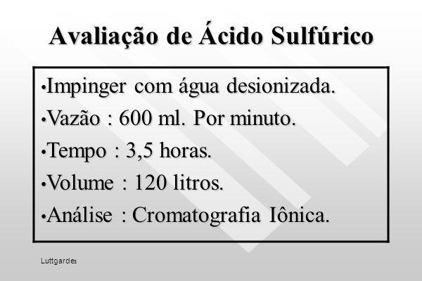 Avaliação de ácidos inorgânicos Tubo de sílica gel purificada. Tubo de sílica gel purificada. Vazão : 200 ml. por minuto. Vazão : 200 ml. por minuto.