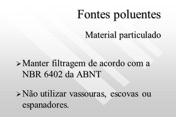 Fontes poluentes Formaldeído Usar produtos domissanitários que não contenham Formaldeído.