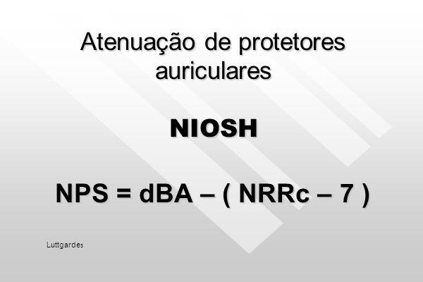 Atenuação de protetores auriculares Método NIOSH nº 2 Método NIOSH nº 2 Ruído contínuo dB (C) – NRR = Ruído que chega dB (C) – NRR = Ruído que chega a