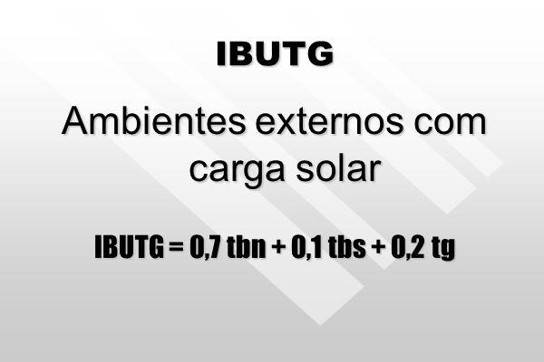 IBUTG Ambientes internos ou externos sem carga solar. IBUTG = 0,7 tbn + 0,3 tg