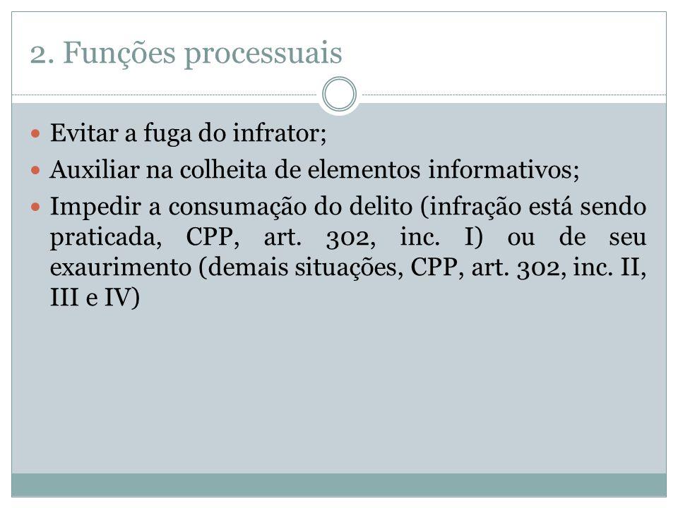 2. Funções processuais Evitar a fuga do infrator; Auxiliar na colheita de elementos informativos; Impedir a consumação do delito (infração está sendo