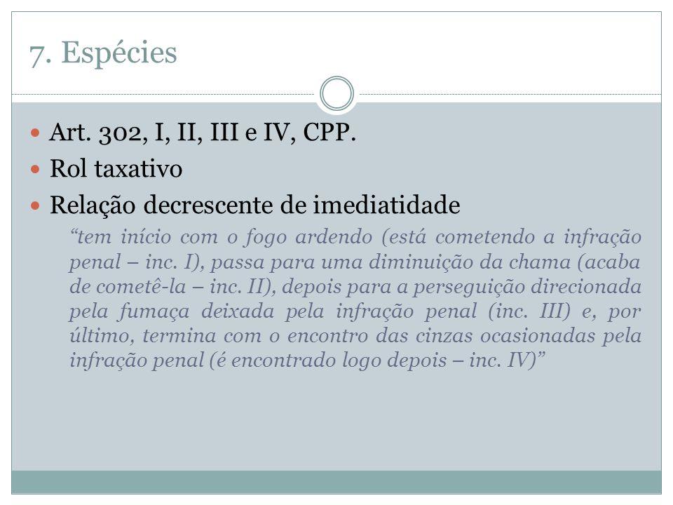 7.Espécies Art. 302, I, II, III e IV, CPP.