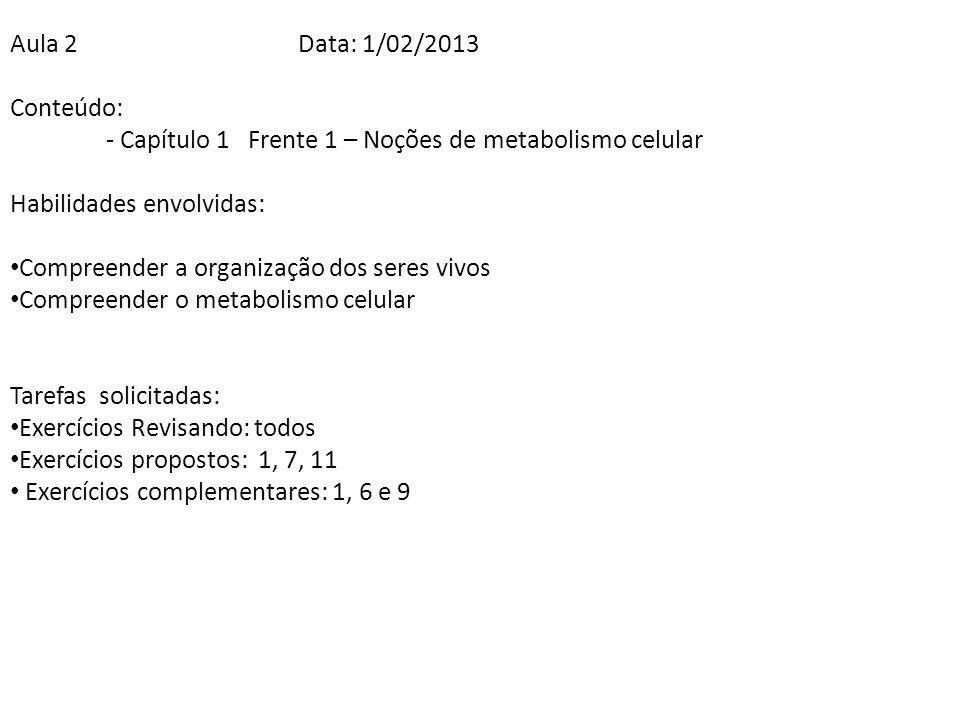Aula 2Data: 1/02/2013 Conteúdo: - Capítulo 1 Frente 1 – Noções de metabolismo celular Habilidades envolvidas: Compreender a organização dos seres vivo