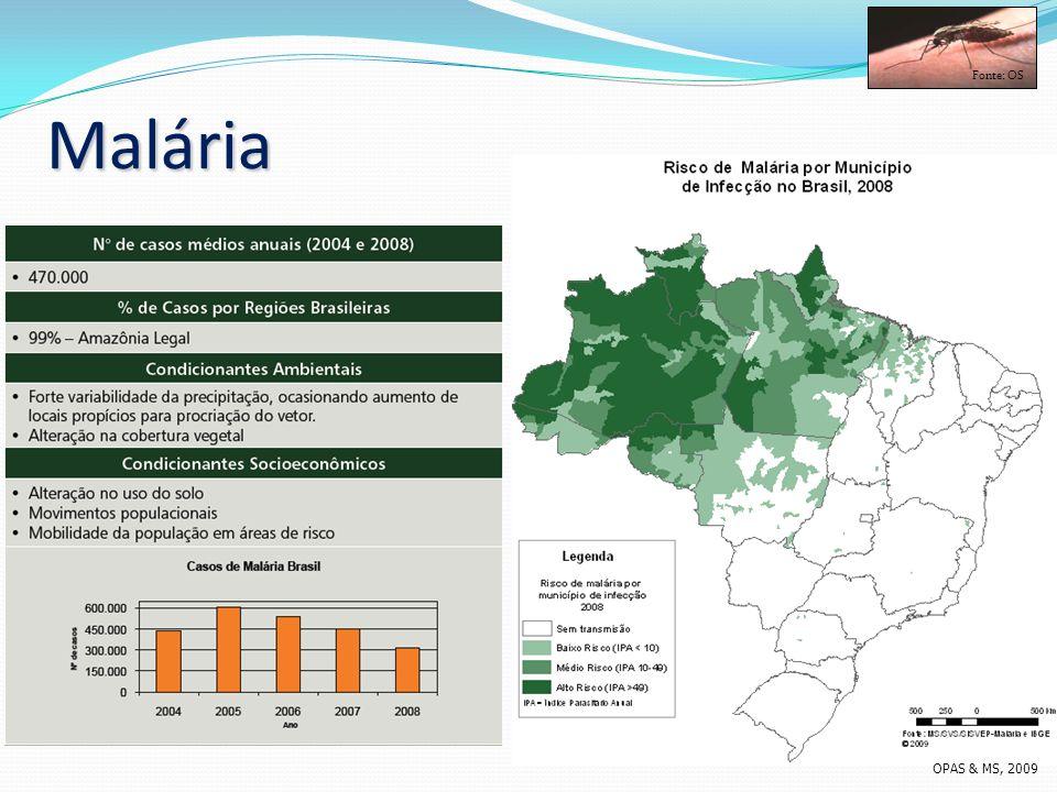 Malária Fonte: OS OPAS & MS, 2009