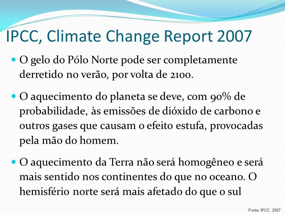 IPCC, Climate Change Report 2007 O gelo do Pólo Norte pode ser completamente derretido no verão, por volta de 2100. O aquecimento do planeta se deve,