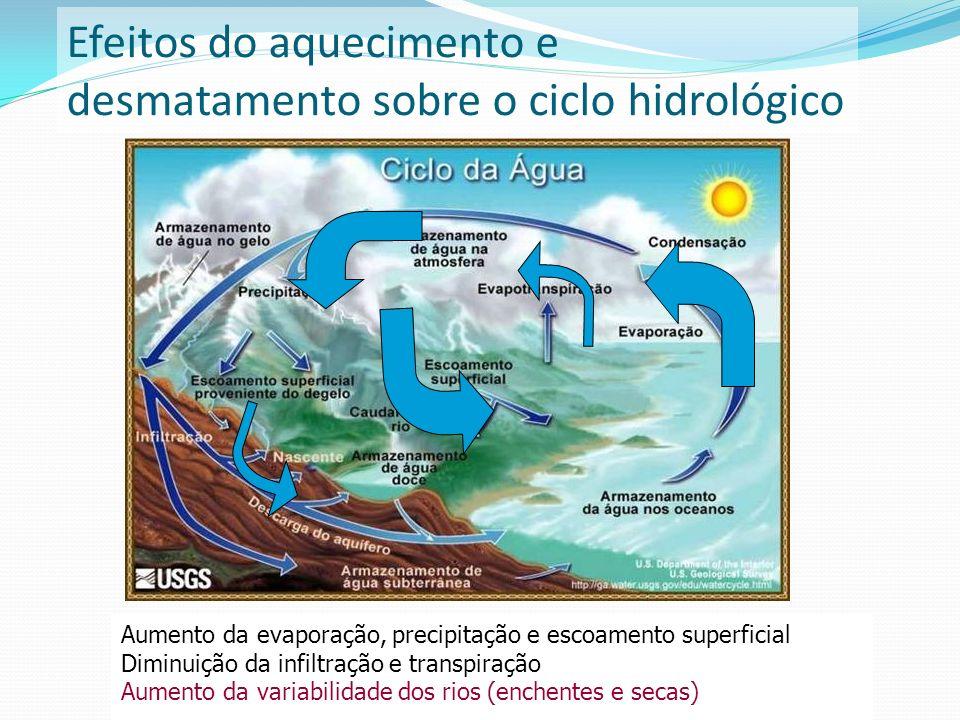 Efeitos do aquecimento e desmatamento sobre o ciclo hidrológico Aumento da evaporação, precipitação e escoamento superficial Diminuição da infiltração
