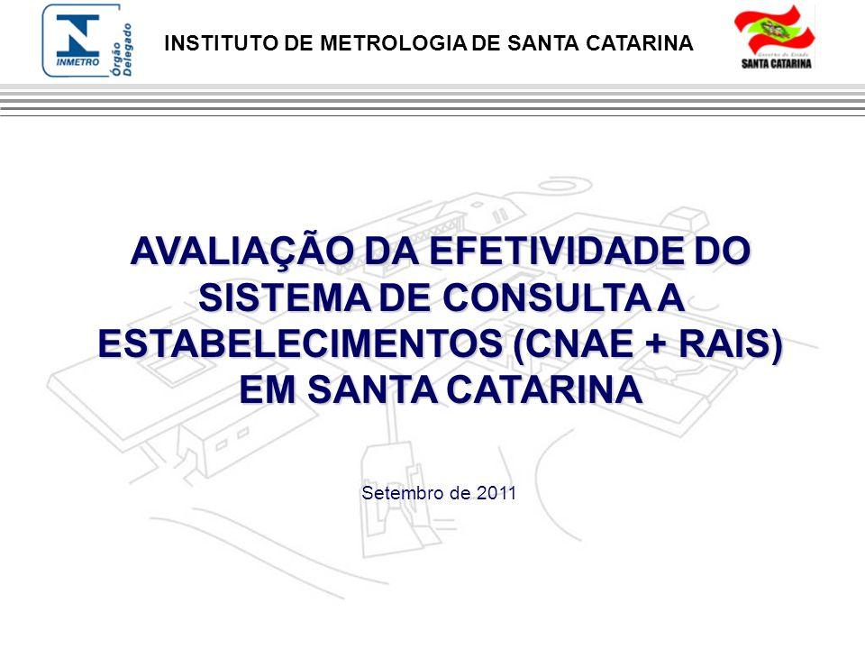INSTITUTO DE METROLOGIA DE SANTA CATARINA AVALIAÇÃO DA EFETIVIDADE DO SISTEMA DE CONSULTA A ESTABELECIMENTOS (CNAE + RAIS) EM SANTA CATARINA Setembro