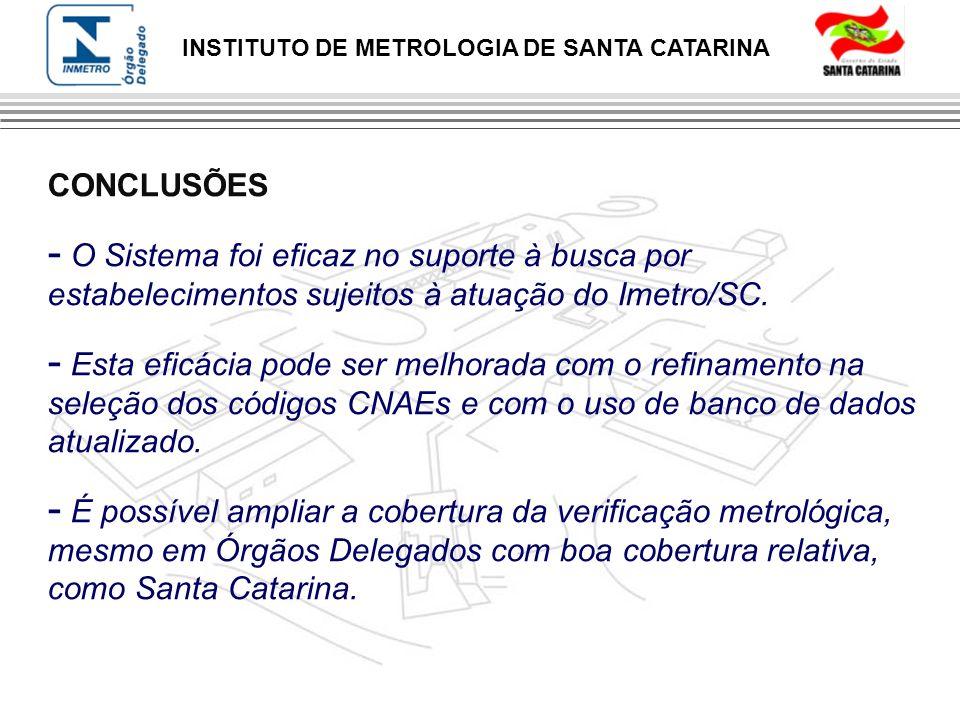 INSTITUTO DE METROLOGIA DE SANTA CATARINA CONCLUSÕES - O Sistema foi eficaz no suporte à busca por estabelecimentos sujeitos à atuação do Imetro/SC. -