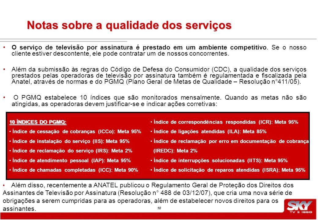 10 Notas sobre a qualidade dos serviços O serviço de televisão por assinatura é prestado em um ambiente competitivo.