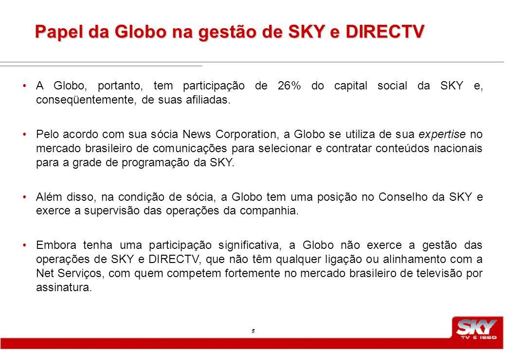 5 A Globo, portanto, tem participação de 26% do capital social da SKY e, conseqüentemente, de suas afiliadas.