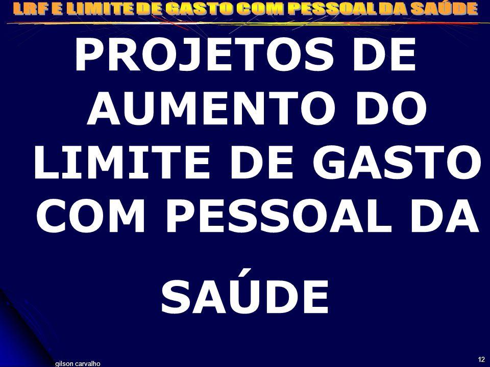 gilson carvalho 12 PROJETOS DE AUMENTO DO LIMITE DE GASTO COM PESSOAL DA SAÚDE