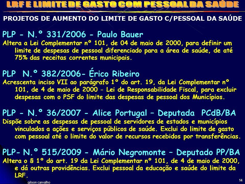 gilson carvalho 14 PROJETOS DE AUMENTO DO LIMITE DE GASTO C/PESSOAL DA SAÚDE PLP - N.º 331/2006 - Paulo Bauer Altera a Lei Complementar nº 101, de 04