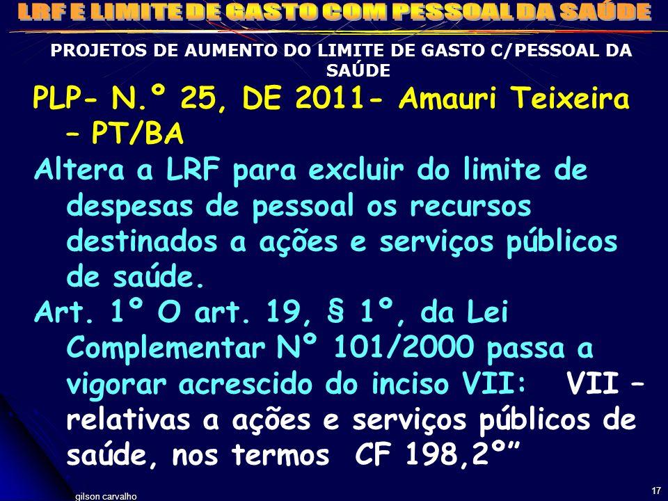 gilson carvalho 17 PROJETOS DE AUMENTO DO LIMITE DE GASTO C/PESSOAL DA SAÚDE PLP- N.º 25, DE 2011- Amauri Teixeira – PT/BA Altera a LRF para excluir d