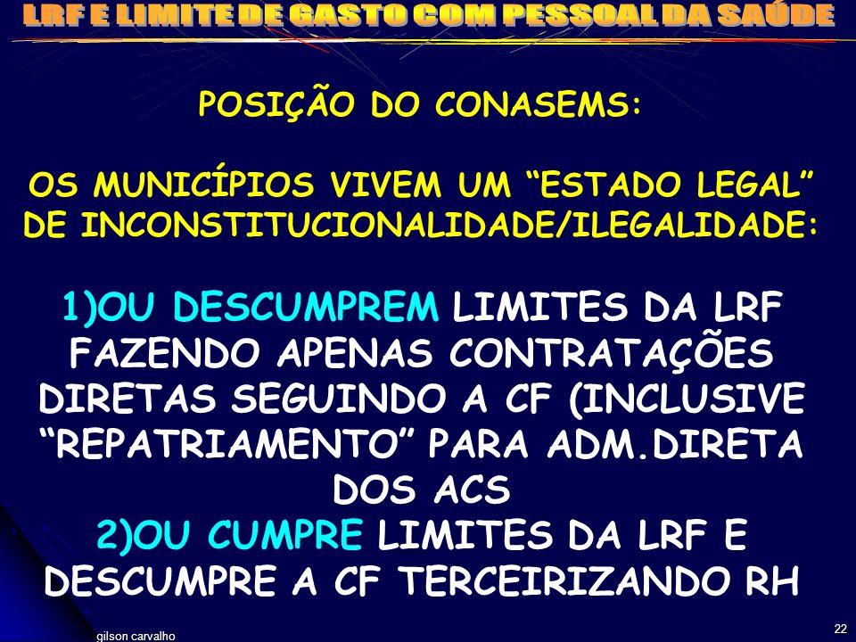 gilson carvalho 22 POSIÇÃO DO CONASEMS: OS MUNICÍPIOS VIVEM UM ESTADO LEGAL DE INCONSTITUCIONALIDADE/ILEGALIDADE: 1)OU DESCUMPREM LIMITES DA LRF FAZEN