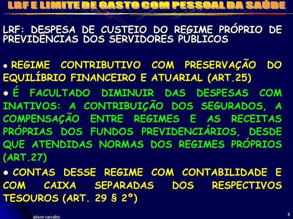 gilson carvalho 8 LRF: DESPESA DE CUSTEIO DO REGIME PRÓPRIO DE PREVIDÊNCIAS DOS SERVIDORES PÚBLICOS REGIME CONTRIBUTIVO COM PRESERVAÇÃO DO EQUILÍBRIO