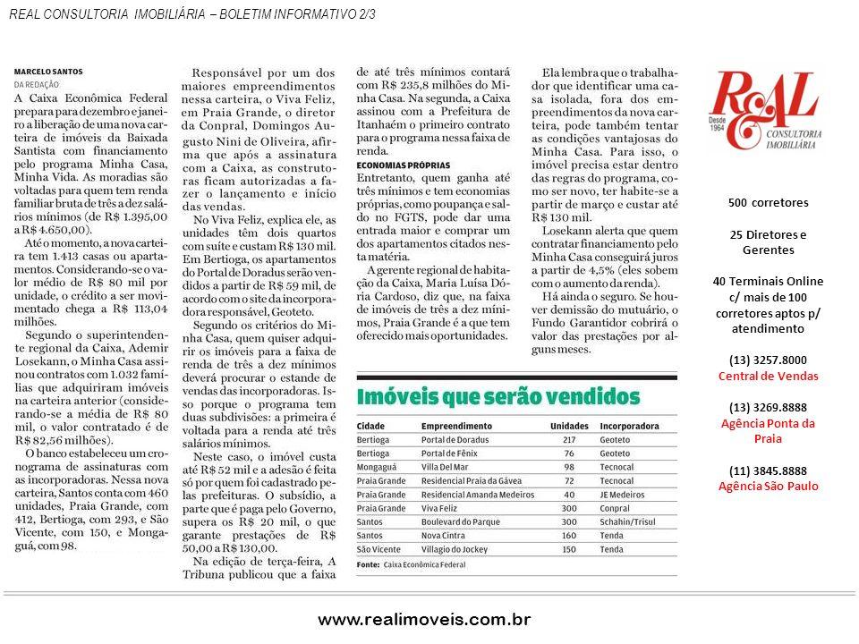 REAL CONSULTORIA IMOBILIÁRIA – BOLETIM INFORMATIVO 2/3 www.realimoveis.com.br 500 corretores 25 Diretores e Gerentes 40 Terminais Online c/ mais de 100 corretores aptos p/ atendimento (13) 3257.8000 Central de Vendas (13) 3269.8888 Agência Ponta da Praia (11) 3845.8888 Agência São Paulo