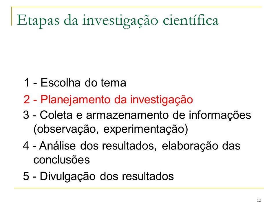 13 Etapas da investigação científica 1 - Escolha do tema 2 - Planejamento da investigação 3 - Coleta e armazenamento de informações (observação, exper