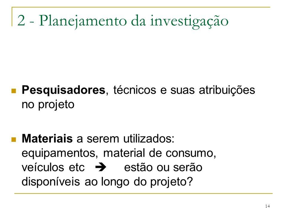 14 2 - Planejamento da investigação Pesquisadores, técnicos e suas atribuições no projeto Materiais a serem utilizados: equipamentos, material de cons