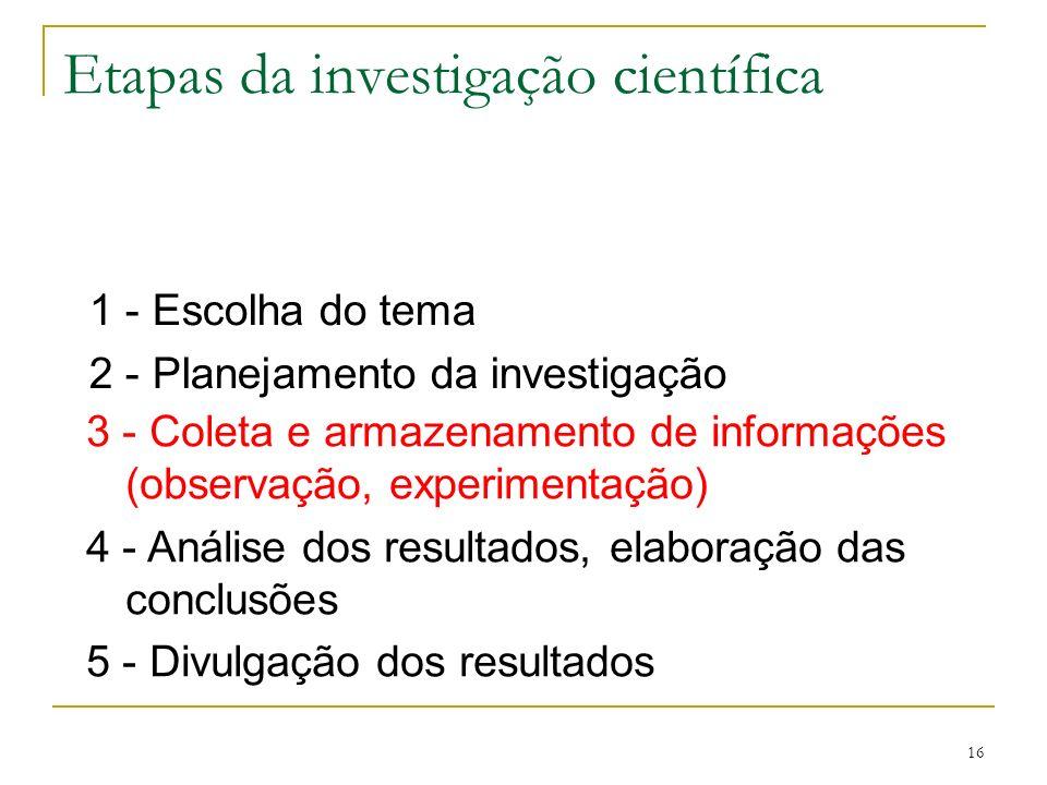 16 Etapas da investigação científica 1 - Escolha do tema 2 - Planejamento da investigação 3 - Coleta e armazenamento de informações (observação, exper