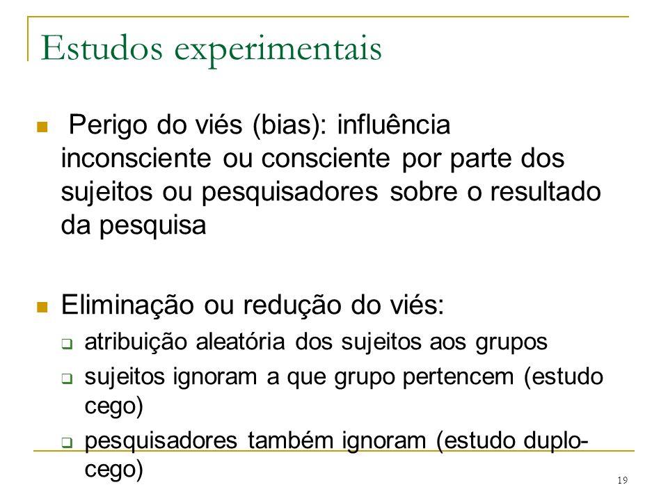 19 Estudos experimentais Perigo do viés (bias): influência inconsciente ou consciente por parte dos sujeitos ou pesquisadores sobre o resultado da pes