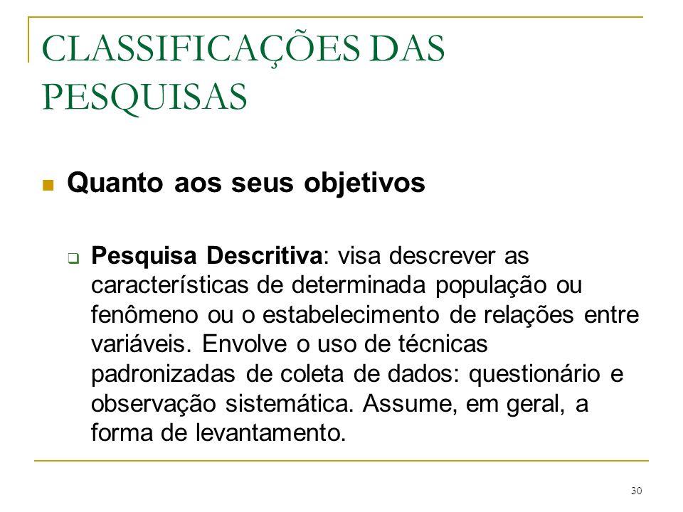 30 CLASSIFICAÇÕES DAS PESQUISAS Quanto aos seus objetivos Pesquisa Descritiva: visa descrever as características de determinada população ou fenômeno