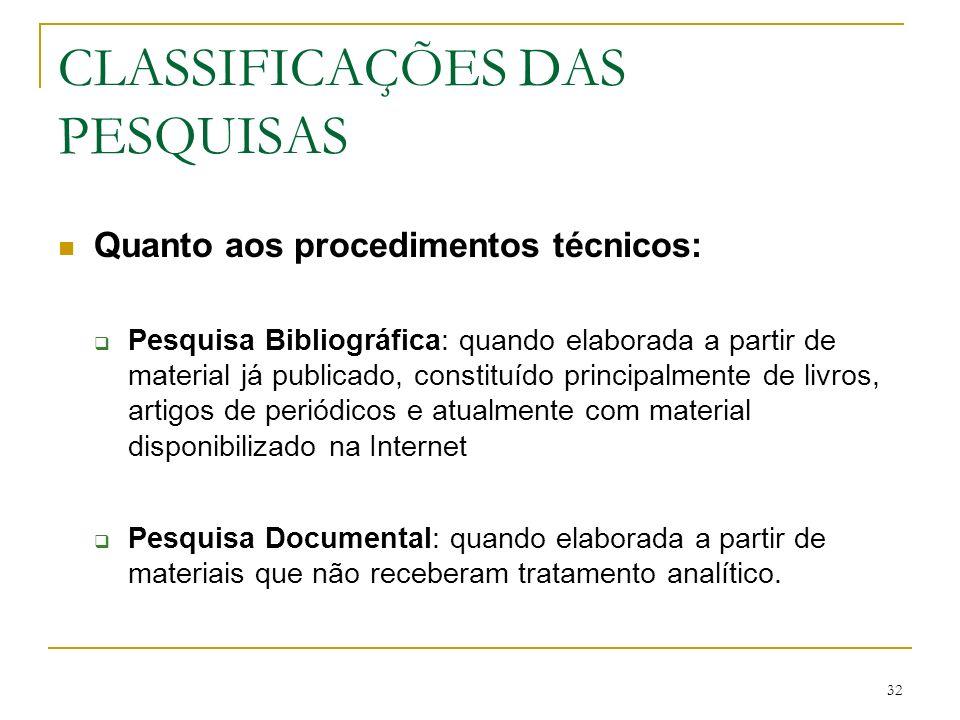 32 CLASSIFICAÇÕES DAS PESQUISAS Quanto aos procedimentos técnicos: Pesquisa Bibliográfica: quando elaborada a partir de material já publicado, constit