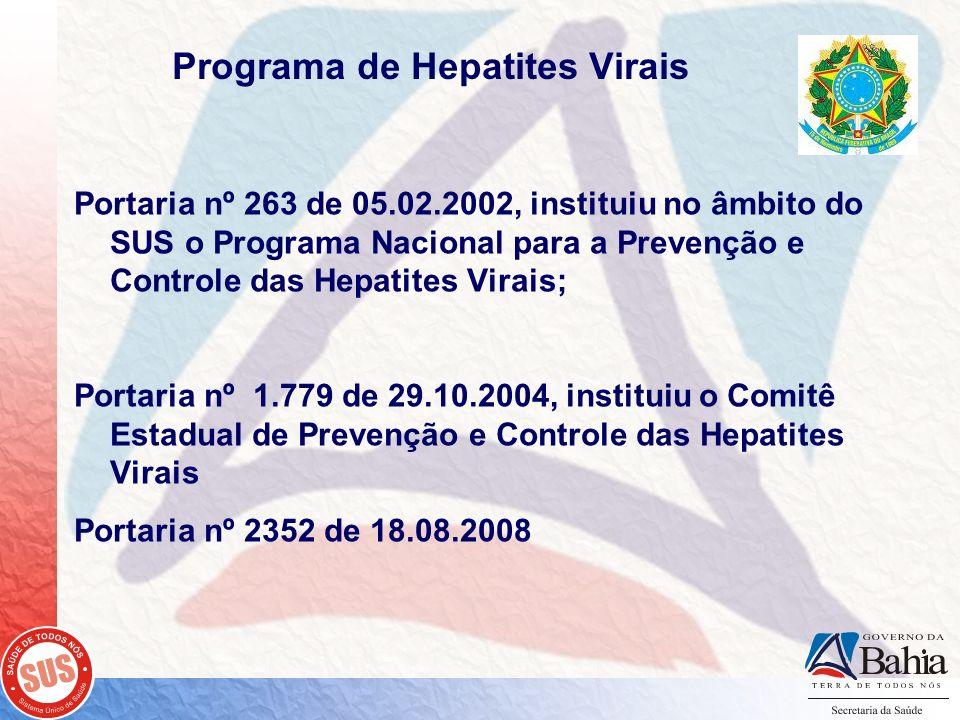 Programa de Hepatites Virais Portaria nº 263 de 05.02.2002, instituiu no âmbito do SUS o Programa Nacional para a Prevenção e Controle das Hepatites V