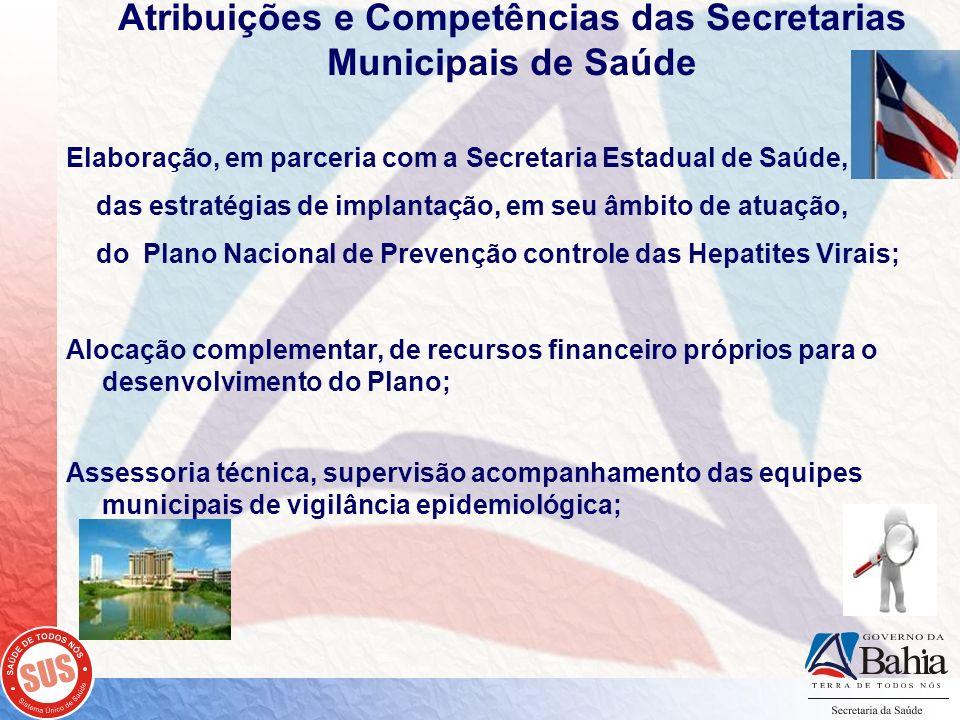 Atribuições e Competências das Secretarias Municipais de Saúde Elaboração, em parceria com a Secretaria Estadual de Saúde, das estratégias de implanta