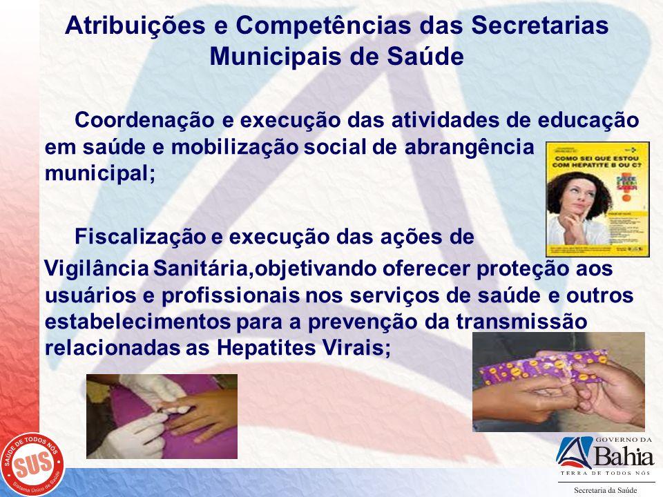 Atribuições e Competências das Secretarias Municipais de Saúde Coordenação e execução das atividades de educação em saúde e mobilização social de abra