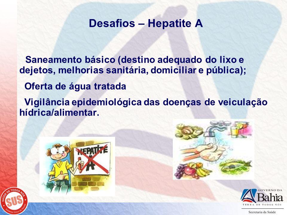 Desafios – Hepatite A Saneamento básico (destino adequado do lixo e dejetos, melhorias sanitária, domiciliar e pública); Oferta de água tratada Vigilâ