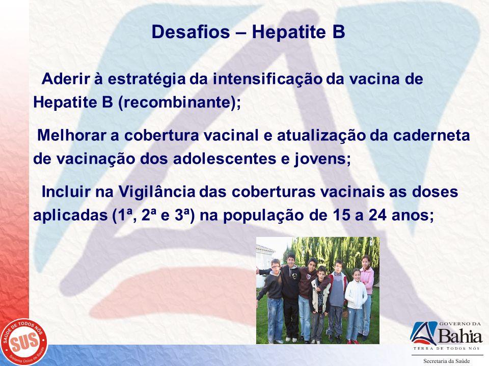 Desafios – Hepatite B Aderir à estratégia da intensificação da vacina de Hepatite B (recombinante); Melhorar a cobertura vacinal e atualização da cade