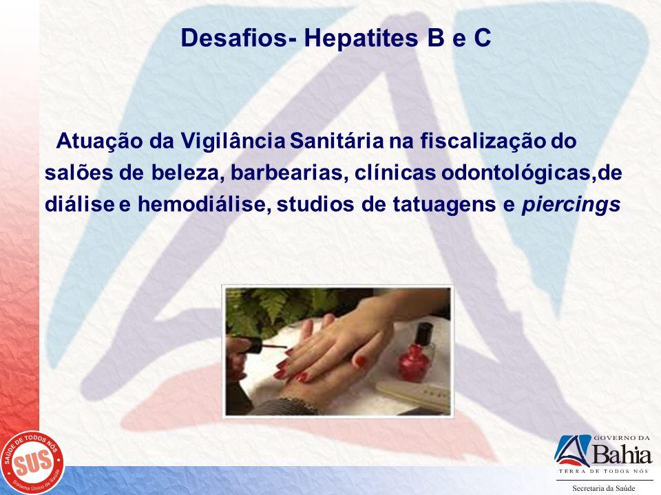 Desafios- Hepatites B e C Atuação da Vigilância Sanitária na fiscalização do salões de beleza, barbearias, clínicas odontológicas,de diálise e hemodiá