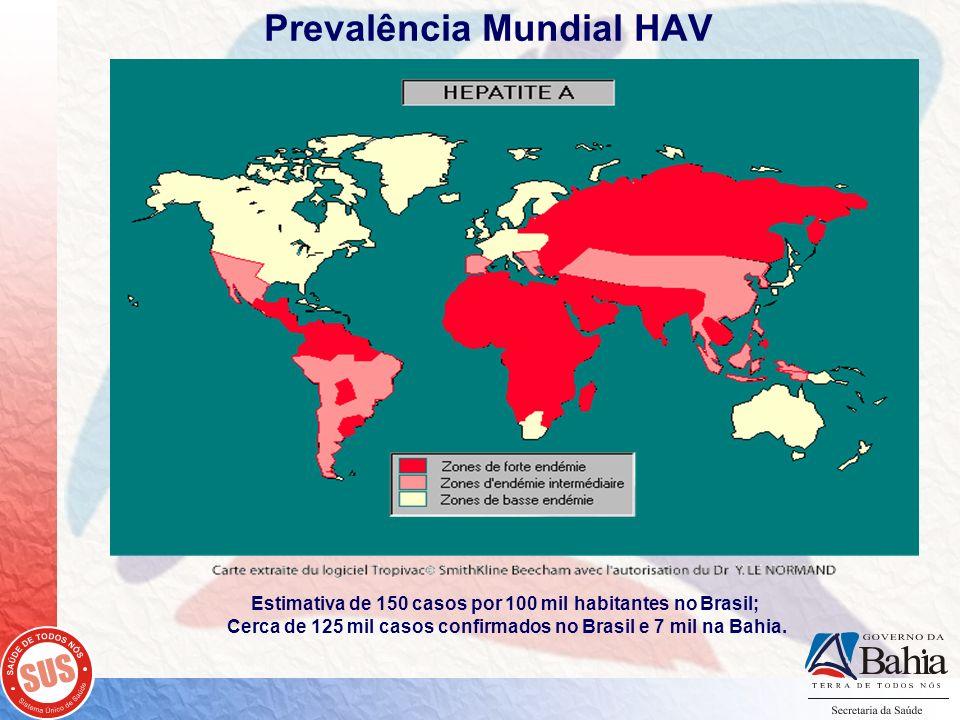 Prevalência Mundial HAV Estimativa de 150 casos por 100 mil habitantes no Brasil; Cerca de 125 mil casos confirmados no Brasil e 7 mil na Bahia.