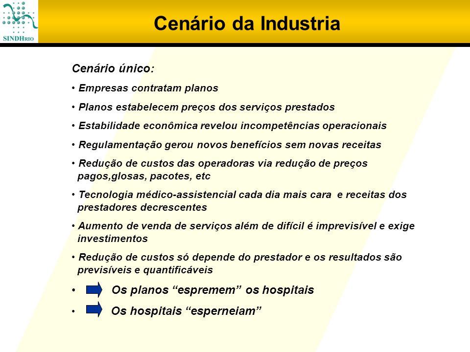 Cenário da Industria Cenário único: Empresas contratam planos Planos estabelecem preços dos serviços prestados Estabilidade econômica revelou incompet