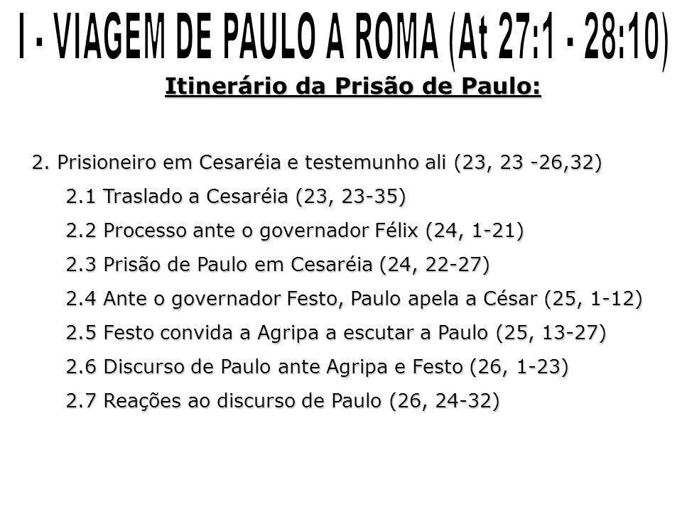 Itinerário da Prisão de Paulo: 2. Prisioneiro em Cesaréia e testemunho ali (23, 23 -26,32) 2.1 Traslado a Cesaréia (23, 23-35) 2.2 Processo ante o gov
