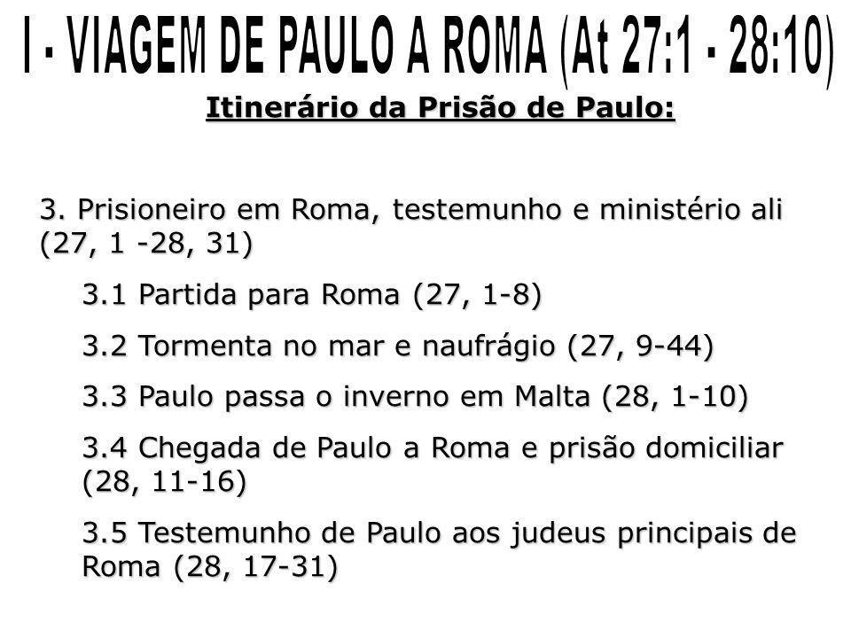 Itinerário da Prisão de Paulo: 3. Prisioneiro em Roma, testemunho e ministério ali (27, 1 -28, 31) 3.1 Partida para Roma (27, 1-8) 3.2 Tormenta no mar