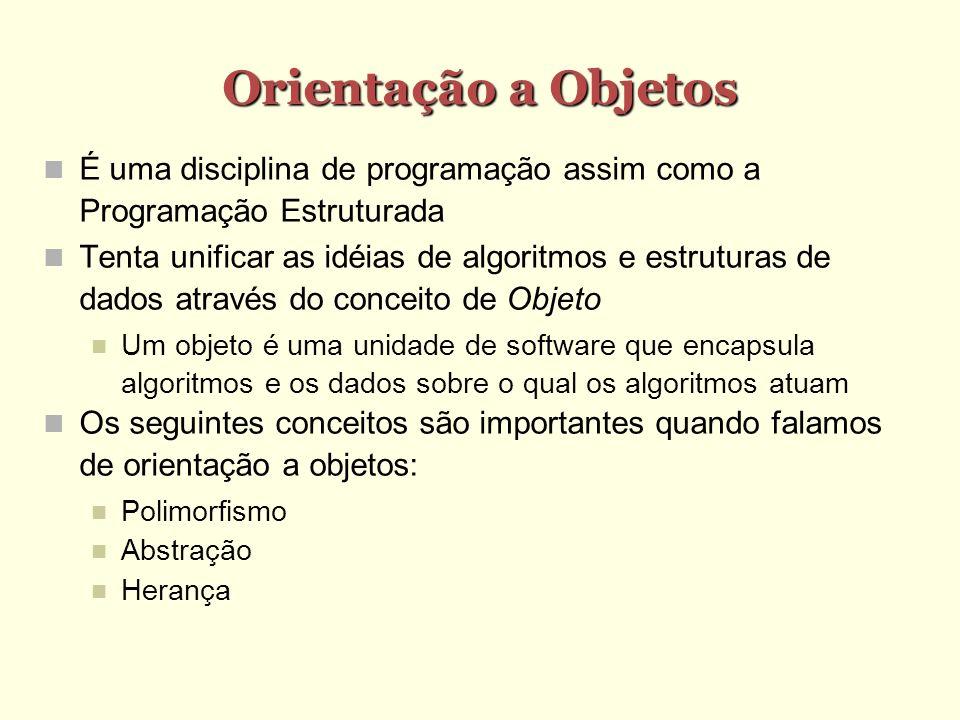 Orientação a Objetos É uma disciplina de programação assim como a Programação Estruturada Tenta unificar as idéias de algoritmos e estruturas de dados