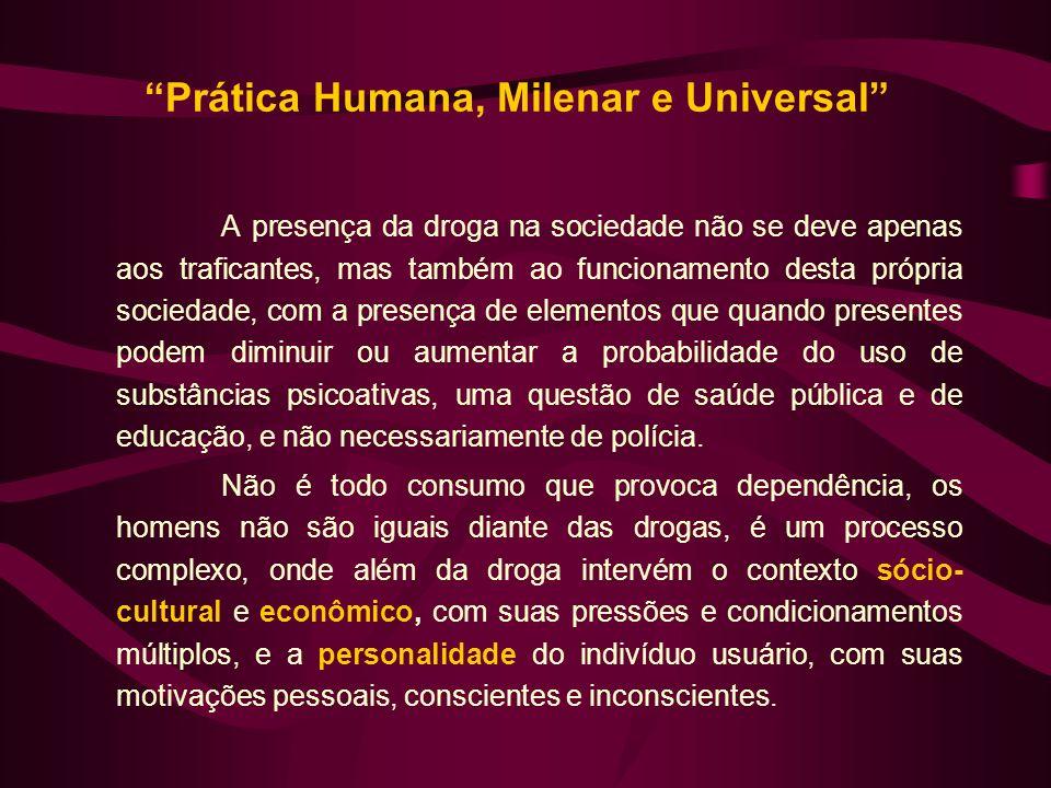 Prática Humana, Milenar e Universal A presença da droga na sociedade não se deve apenas aos traficantes, mas também ao funcionamento desta própria soc