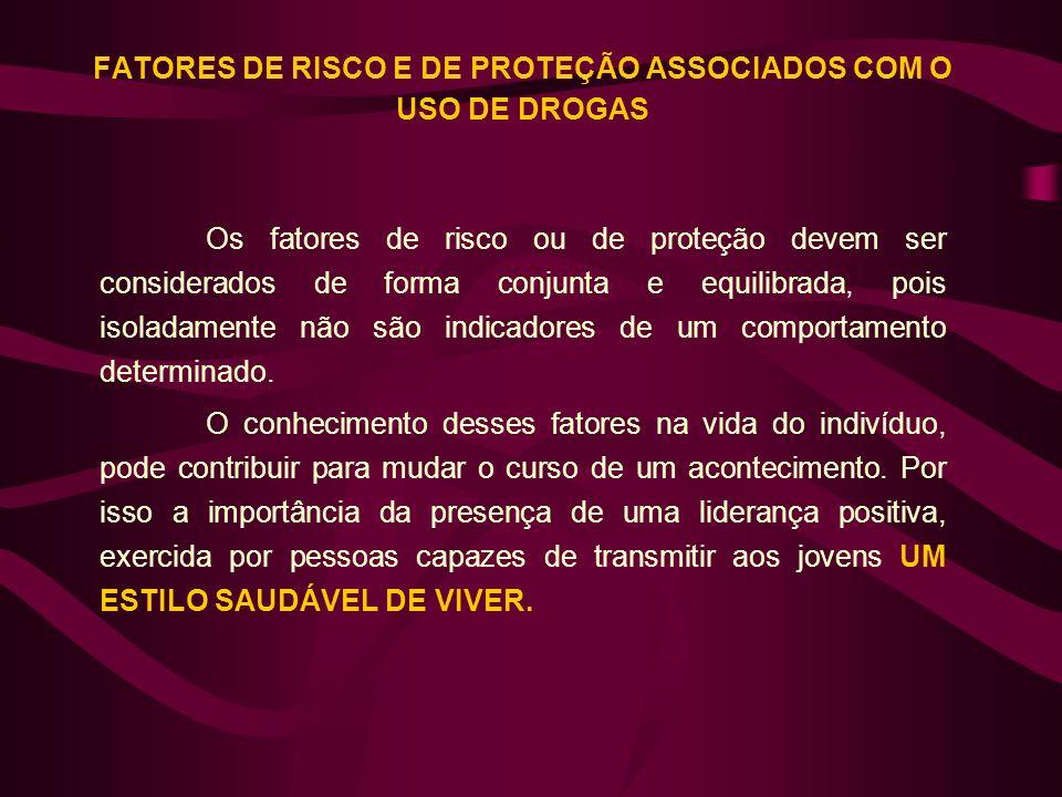 FATORES DE RISCO E DE PROTEÇÃO ASSOCIADOS COM O USO DE DROGAS Os fatores de risco ou de proteção devem ser considerados de forma conjunta e equilibrad