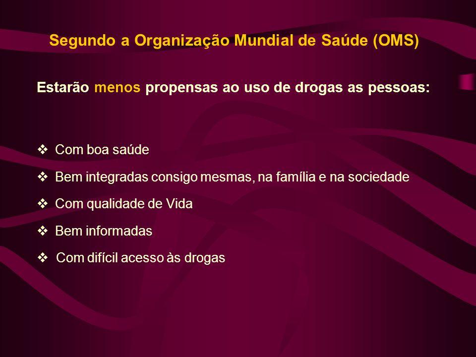 Segundo a Organização Mundial de Saúde (OMS) Estarão menos propensas ao uso de drogas as pessoas: Com boa saúde Bem integradas consigo mesmas, na famí