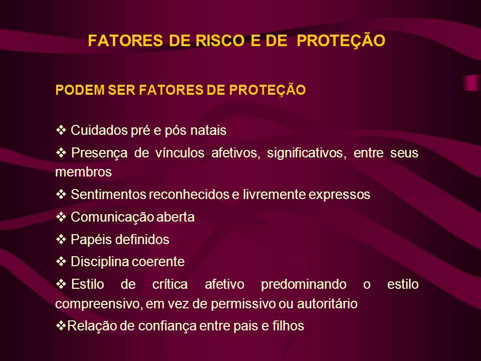 FATORES DE RISCO E DE PROTEÇÃO PODEM SER FATORES DE PROTEÇÃO Cuidados pré e pós natais Presença de vínculos afetivos, significativos, entre seus membr