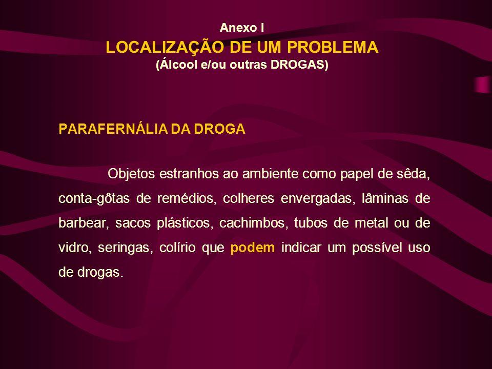 Anexo I LOCALIZAÇÃO DE UM PROBLEMA (Álcool e/ou outras DROGAS) PARAFERNÁLIA DA DROGA Objetos estranhos ao ambiente como papel de sêda, conta-gôtas de