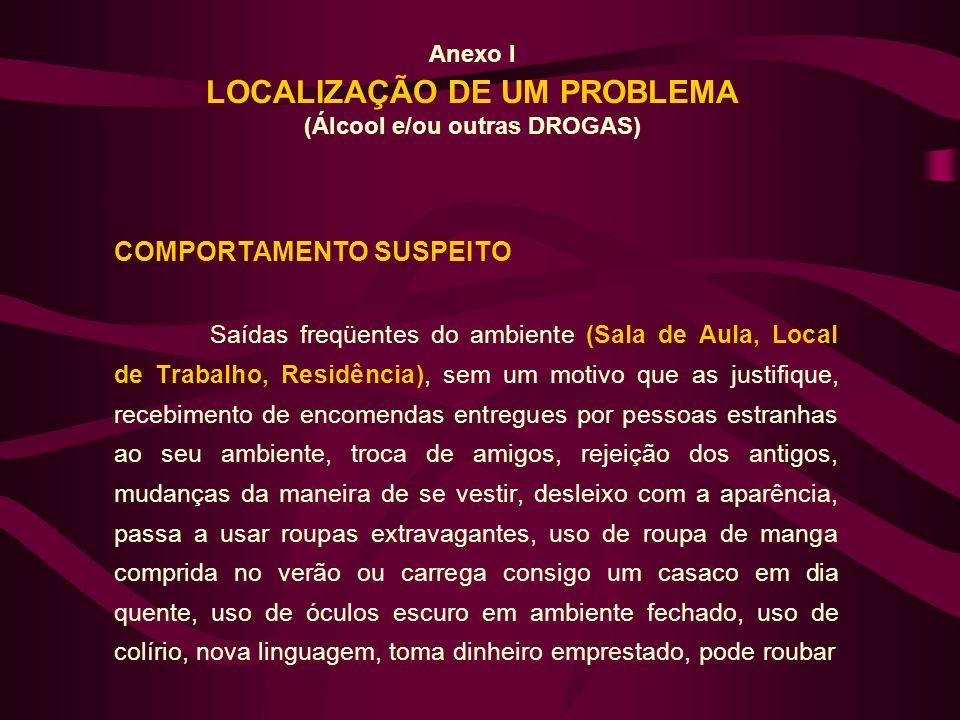 Anexo I LOCALIZAÇÃO DE UM PROBLEMA (Álcool e/ou outras DROGAS) COMPORTAMENTO SUSPEITO Saídas freqüentes do ambiente (Sala de Aula, Local de Trabalho,