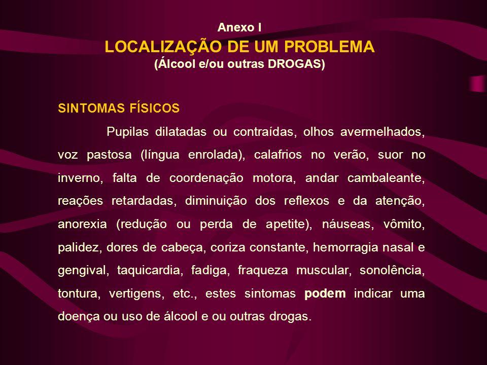 Anexo I LOCALIZAÇÃO DE UM PROBLEMA (Álcool e/ou outras DROGAS) SINTOMAS FÍSICOS Pupilas dilatadas ou contraídas, olhos avermelhados, voz pastosa (líng