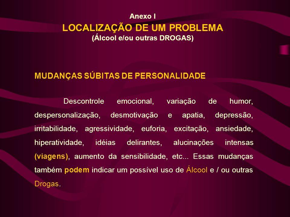 Anexo I LOCALIZAÇÃO DE UM PROBLEMA (Álcool e/ou outras DROGAS) MUDANÇAS SÚBITAS DE PERSONALIDADE Descontrole emocional, variação de humor, despersonal
